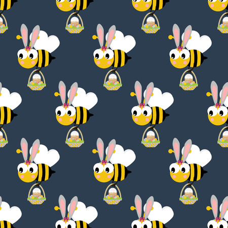 Easter bee seamless pattern on a blue background. Vector illustration