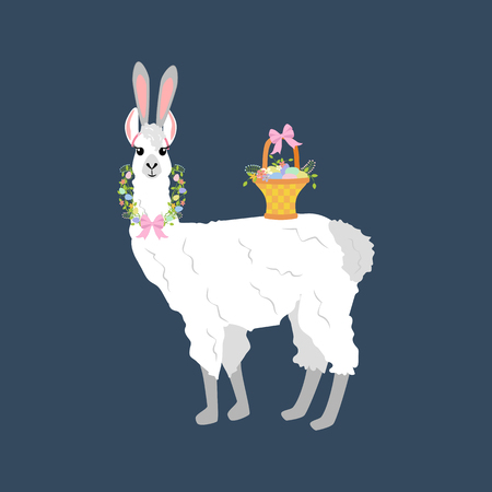 Easter llama with basket on a blue background. Vector illustration