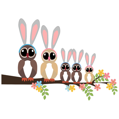 Easter Owls on a branch on a white background. Vector illustration