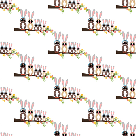 Easter owls seamless pattern on a white background. Vector illustration