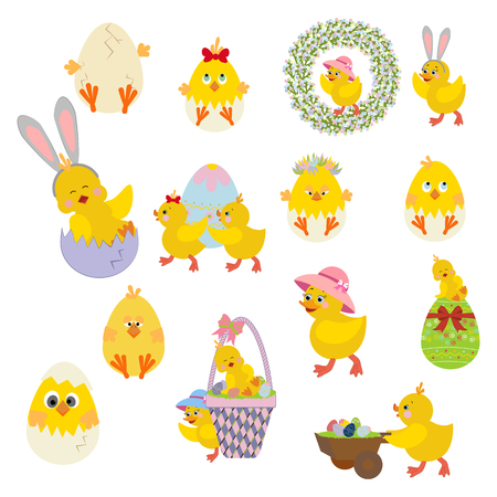 Easter chicken set on a white background. Vector illustration Ilustrace
