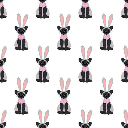 Easter cat seamless pattern on a white background. Vector illustration