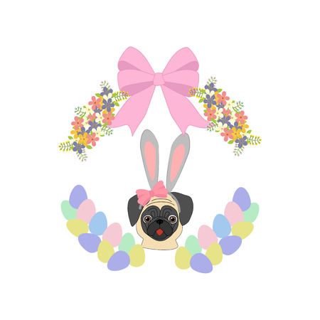Easter pug on a white background. Vector illustration