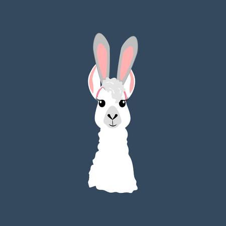 Llama with ears on a blue background. Vector illustration