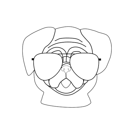 Pug dog in glasses on a white background. Vector illustration