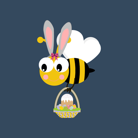 Easter bee with basket on a blue background. Vector illustration