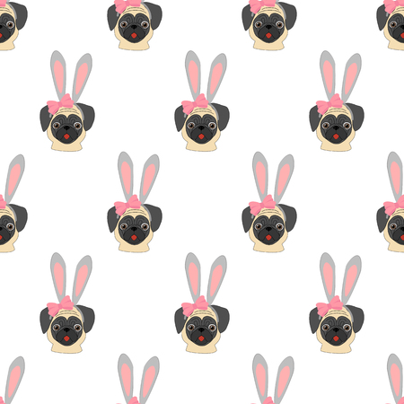 Pug with rabbit ears seamless pattern on a white background. Vector illustration