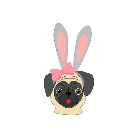 Pug with rabbit ears on a white background. Vector illustration
