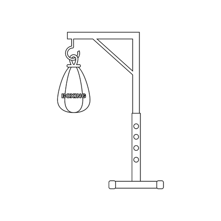 Punching bag on a white background. Vector illustration
