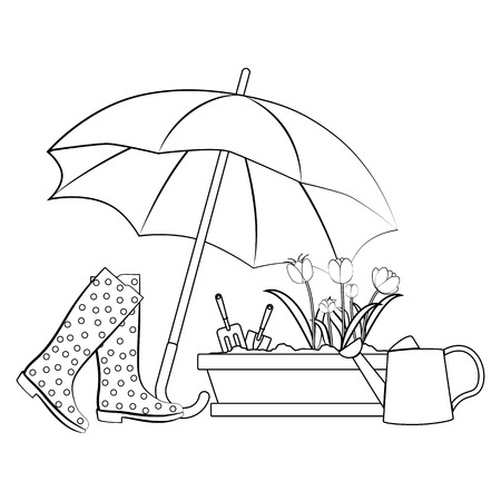 Spring flowers under umbrella on a white background. Vector illustration