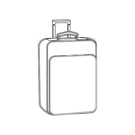 Suitcase outline illustration on a white background. Vector illustration