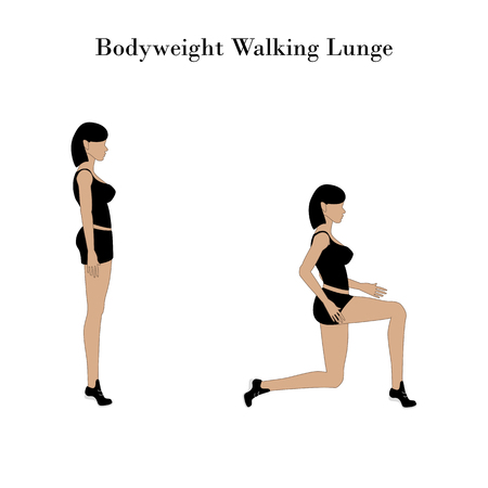 Bodyweight walking lunge exercise workout on the white background. Vector illustration