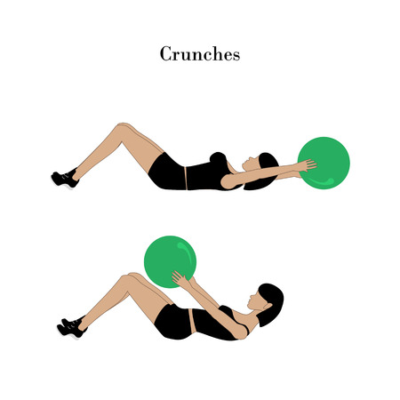 Crunches exercise workout on the white background. Vector illustration