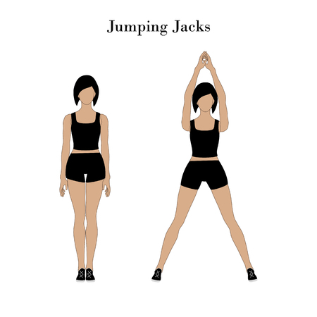 Jumping jacks exercise workout on the white background. Vector illustration Stock Illustratie