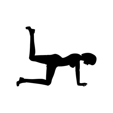 Kickbacks exercise workout silhouette on the white background. Vector illustration