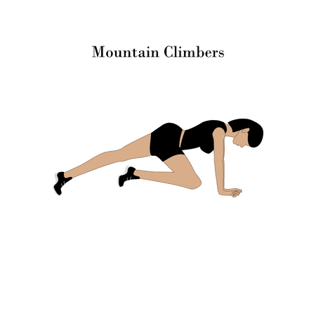 Mountain Climbers exercise workout on the white background. Vector illustration