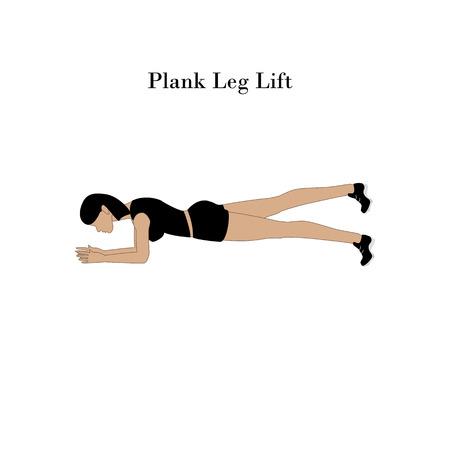 Plank Leg Lift exercise workout on the white background. Vector illustration