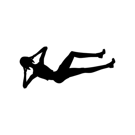 Bicycle crunches exercise workout silhouette on the white background. Vector illustration