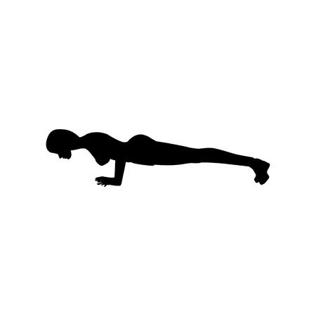 Push-up exercise workout silhouette on the white background. Vector illustration Ilustração