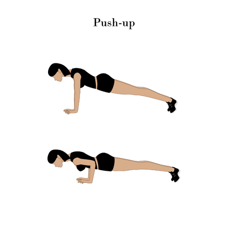 Push-up exercise workout on the white background. Vector illustration Illustration