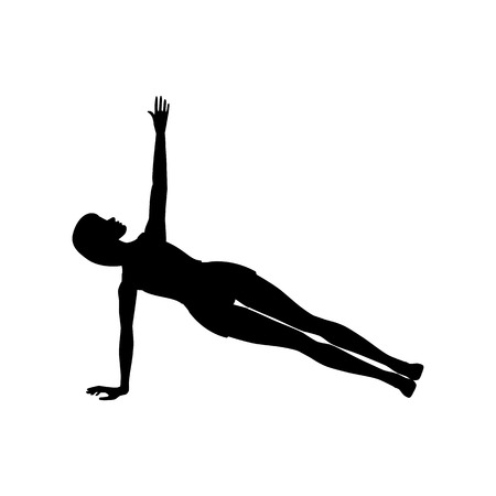 Side plank exercise workout silhouette on the white background. Vector illustration