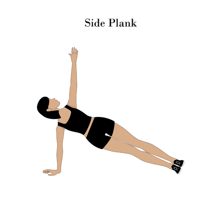 Side plank exercise workout on the white background. Vector illustration