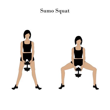Allenamento di esercizio squat di sumo sullo sfondo bianco. Illustrazione vettoriale