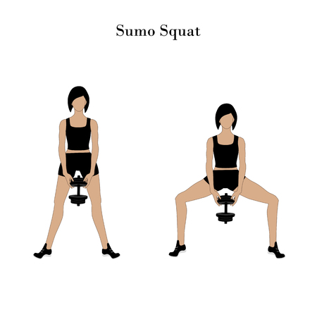 Sumo squat exercise workout on the white background. Vector illustration Vettoriali
