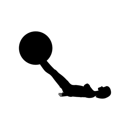 Swiss ball leg lifts exercise workout silhouette on the white background. Vector illustration