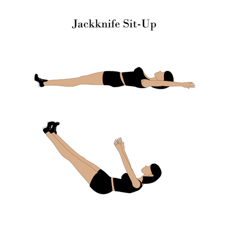Jackknife sit up exercise workout on the white background. Vector illustration