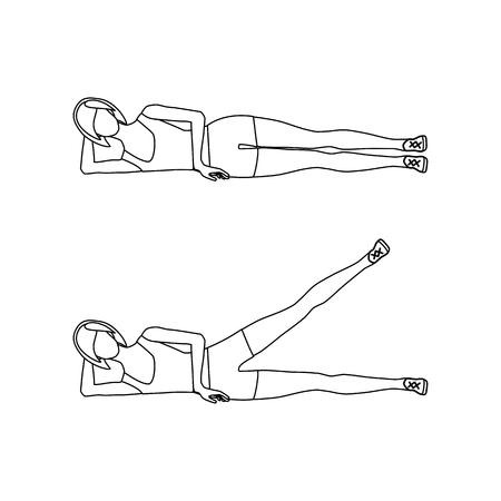 Leżący zarys podnoszenia nogi bocznej