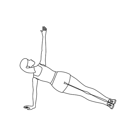 Side plank workout outline on the white background. Vector illustration