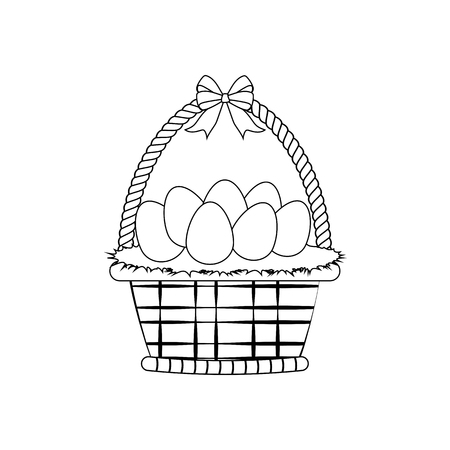 Basket with eggs outline on the white background. Vector illustration
