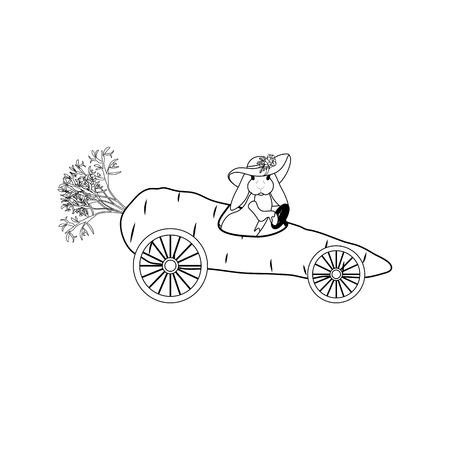 Bunny driving carrot outline on the white background. Vector illustration