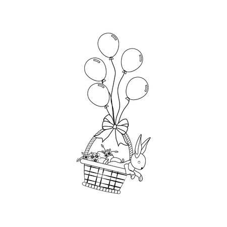 Bunny in basket outline on the white background. Vector illustration