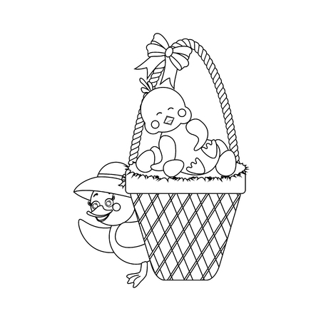 Chicken in basket with eggs outline on the white background. Vector illustration