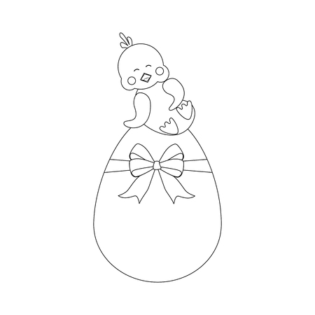Chicken on the egg outline on the white background. Vector illustration Ilustração