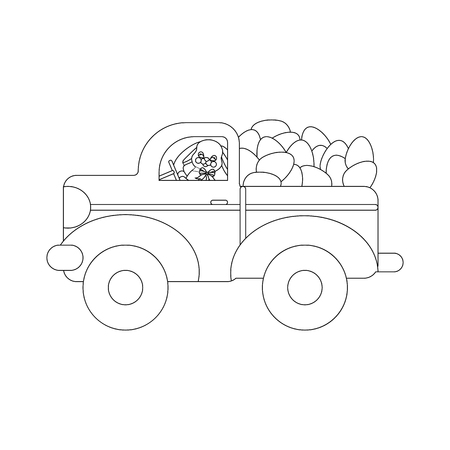 Easter bunny and eggs outline on the white background. Vector illustration Ilustração