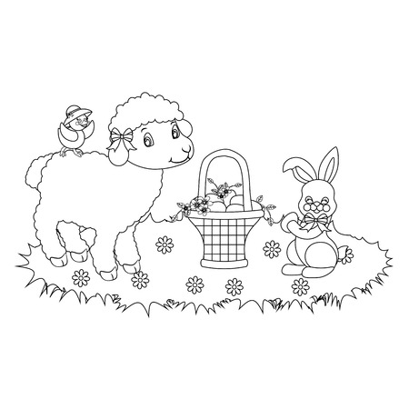 Easter bunny and lamb outline on the white background. Vector illustration