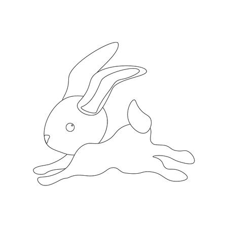 Easter bunny outline on the white background. Vector illustration
