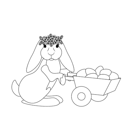 Easter bunny with eggs outline on the white background. Vector illustration
