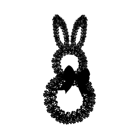 Easter bunny wreath silhouette on the white background. Vector illustration