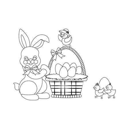 Easter rabbit and chicken outline on the white background. Vector illustration