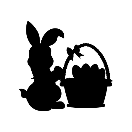 Easter rabbit with basket silhouette on the white background. Vector illustration