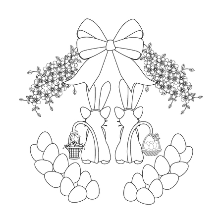 Easter cats with baskets outline on the white background. Vector illustration
