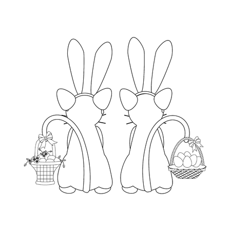 Cats in rabbit ears outline on the white background. Vector illustration