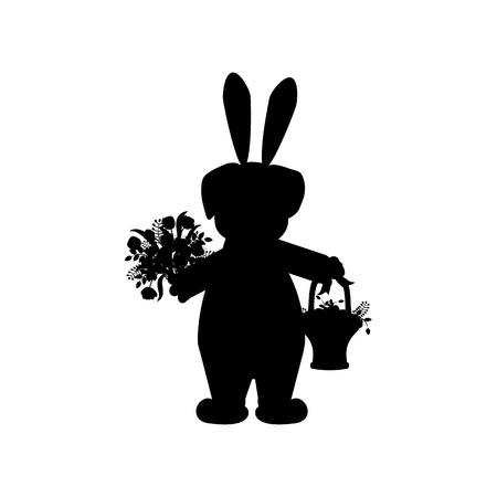 Easter pug with basket silhouette on the white background. Vector illustration