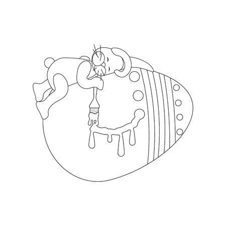 Easter rabbit and egg outline on the white background. Vector illustration