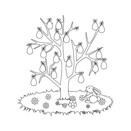 Easter Egg Tree Rabbit outline on the white background. Vector illustration