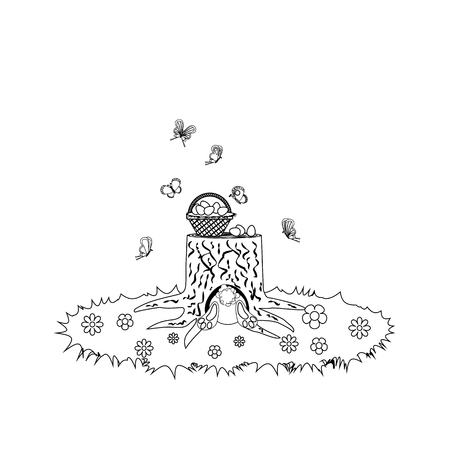 Easter Rabbit Eggs outline on the white background. Vector illustration Ilustração